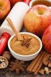 Ingrediënten en kruiden voor bakselappeltaart, hoogste mening Royalty-vrije Stock Afbeeldingen