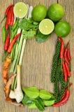 Ingrediënten voor de keuken van Thai stock afbeeldingen