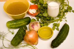 Ingrediënten voor de Soep van de Komkommer Royalty-vrije Stock Foto