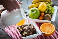 Ingrediënten voor een gezond ontbijt stock foto