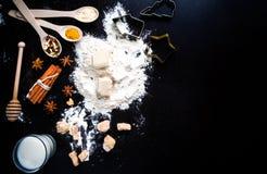 Ingrediënten voor gemberkoekjes stock foto's