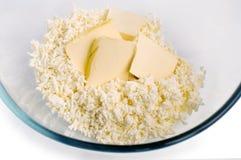 Ingrediënten voor gestremde melkkoekjes Stock Foto