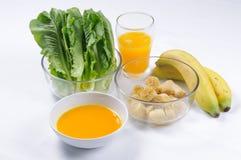 Ingrediënten voor gezonde plantaardige drankschokken Royalty-vrije Stock Fotografie