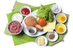 Ingrediënten voor hamburgers Stock Fotografie