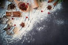 Ingrediënten voor het koken baksel stock foto's