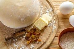 Ingrediënten voor het koken van deeg, zoet baksel Stock Foto