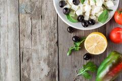 Ingrediënten voor het koken van Griekse salade Copyspace Stock Foto