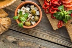 Ingrediënten voor het koken van salade Stock Foto