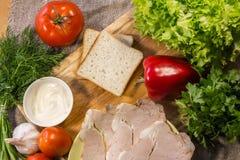 Ingrediënten voor het koken van sandwich Royalty-vrije Stock Foto's