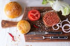 Ingrediënten voor het maken van hamburger Stock Foto