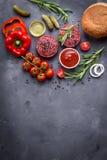 Ingrediënten voor het maken van hamburger Royalty-vrije Stock Foto