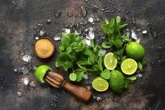 Ingrediënten voor het maken van mojito van de de zomerlimonade Hoogste mening met exemplaar stock foto