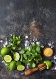 Ingrediënten voor het maken van mojito van de de zomerlimonade Hoogste mening met exemplaar stock afbeelding