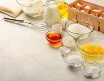 Ingrediënten voor het maken van pannekoeken Royalty-vrije Stock Fotografie