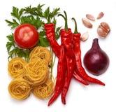 Ingrediënten voor Italiaanse Deegwaren. Royalty-vrije Stock Afbeeldingen