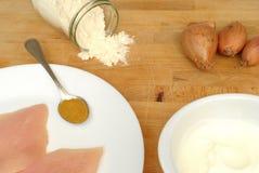 Ingrediënten voor kerriekip, voedselachtergrond stock afbeelding