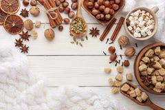 Ingrediënten voor kruidige hete chocolade of koffie royalty-vrije stock foto's