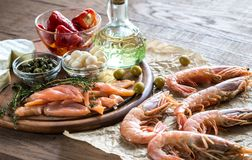 Ingrediënten voor mediterraan dieet Stock Fotografie