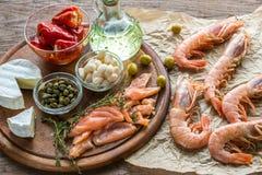 Ingrediënten voor mediterraan dieet Stock Foto