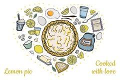 Ingrediënten voor open citroenpastei stock illustratie
