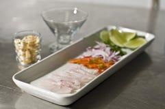 Ingrediënten voor Peruviaanse ceviche Stock Afbeeldingen