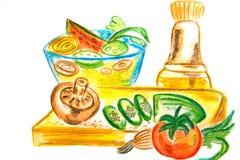 Ingrediënten voor saladegeschiktheid Stock Foto's