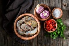 Ingrediënten voor smakelijke en zoete garnalen royalty-vrije stock foto's