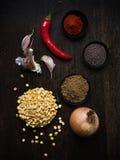 Ingrediënten voor Vegetarische Kerrie stock foto