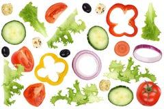 Ingrediënten voor vliegende salade met tomaten, sla, ui, oliv Stock Afbeelding