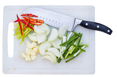 Ingrediant and knife Stock Photos