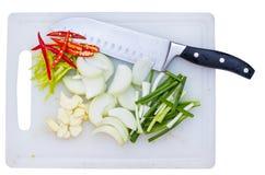 Ingrediant und Messer Stockfotos