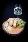 Ingrediences ready for preparing fondue stock image
