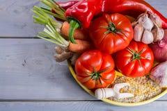Ingrediens для соусов - свежих зрелых красных томатов, паприки, моркови Стоковая Фотография RF