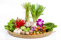 Ingrediens av thai kryddig soppa (tom yum det thai namnet). arkivfoton