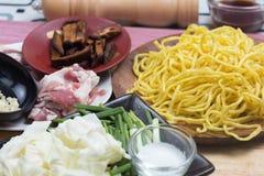 Ingrediens för att laga mat Yakisoba Arkivfoto