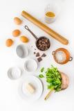 Ingrediens för bästa sikt för chokladfondant Fotografering för Bildbyråer