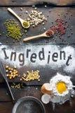 Ingrediens för bageri arkivfoto