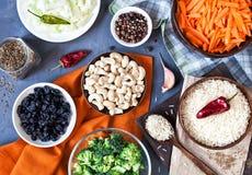 Ingredienser av den indiska vegetarian Pulao Royaltyfri Bild