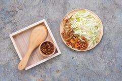 Ingredienser av kryddig och sur mangosallad, thailändsk mat Royaltyfri Bild