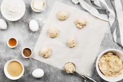 Ingredienser för att baka av kakor - mjöl, ägg, kryddor, vanilj Royaltyfri Bild