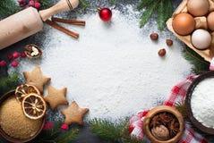 Ingredienser för att laga mat att baka för jul royaltyfri foto