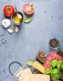 Ingredienser för att laga mat pasta Bolognese Spagetti parmesanost, tomater, metallrivjärn, olivolja, vitlök som finhackas Royaltyfri Foto