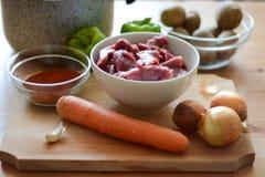 Ingredienser för att laga mat ragu Arkivbild