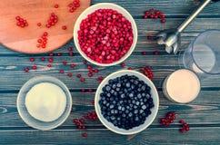 Ingredienser för att laga mat smoothievinbäret Arkivbilder