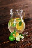 Ingredienser för en citrus lemonad på en träbakgrund Limefrukt apelsiner, mintkaramell bredvid en krus av fruktfruktsaft Kafédrin Royaltyfri Fotografi