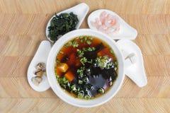 Ingredienser för förberedelsen av en läcker soppa Miso östlig kokkonst royaltyfri bild