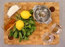 Ingredienser för framställning av lemonad Arkivfoto