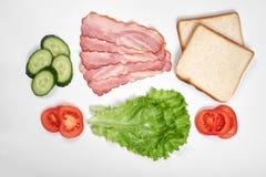 Ingredienser för framställning av smörgåsen nya grönsaker, tomater, bröd, becon Isolerat på vit bakgrund, bästa sikt, kopia arkivbilder