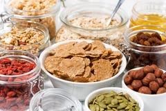 Ingredienser för frukosten, closeup Fotografering för Bildbyråer