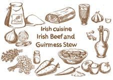 Ingredienser för irländsk nötkött- och Guinness ragu skissa royaltyfri illustrationer